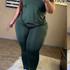 green-casual-solid-split-joint-o-neck-plus-size